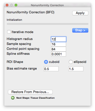 Parameters for bias field correction can be set through the BFC dialog.